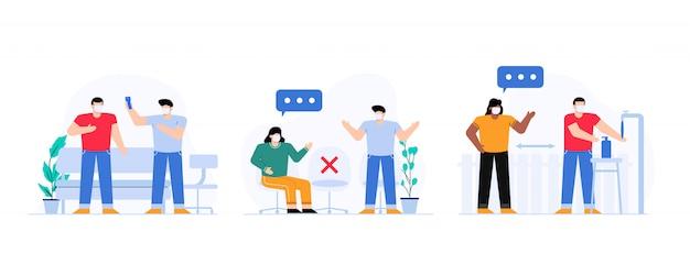 Neue normalität im öffentlichen illustrationssatz Premium Vektoren