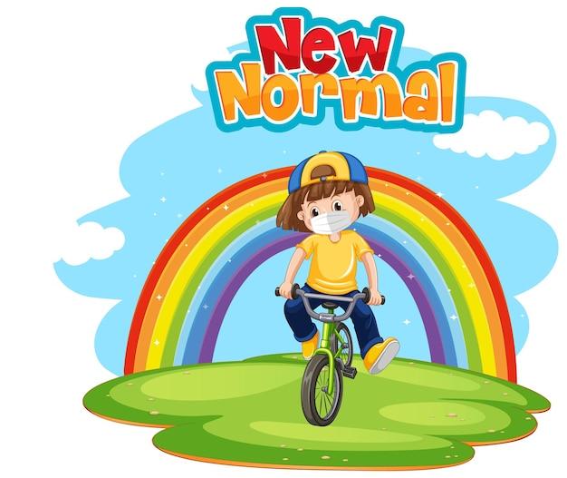 Neue normalität mit einem mädchen, das fahrrad mit regenbogen fährt