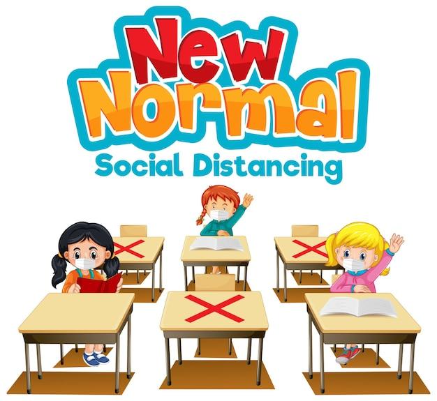 Neue normalität mit schülern, die soziale distanz einhalten