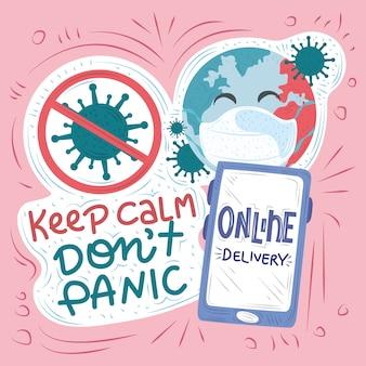 Neue normalität, nach coronavirus covid 19, online-lieferung, ruhig bleiben, virus stoppen