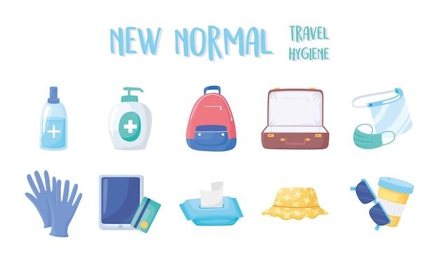 Neue normalität nach covid 19, reisehygiene desinfektionsgel beutel maske handschuhe und mehr illustration