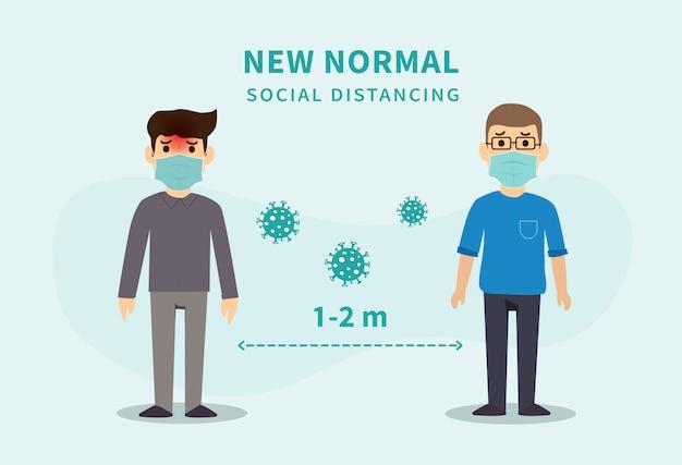 Neue normalität nach der epidemie der covid-19. soziale distanzierung. abstand zwischen personen, um die verbreitung des covid-19-virus zu vermeiden.