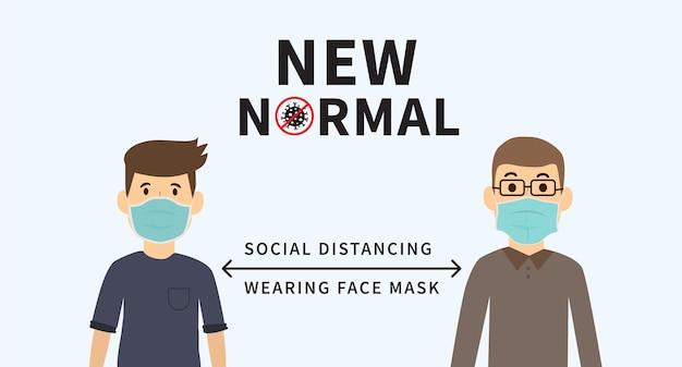 Neue normalität nach der epidemie der covid19 gesichtsmaske tragen soziale distanzierung halten sie die 2 meter ein
