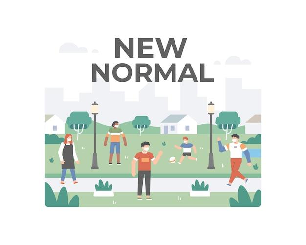 Neue normalität nach einer coronavirus-pandemie mit menschen, die keine aktivitäten im freien durchführen, während sie weiterhin sicherheits- und gesundheitsprotokolle praktizieren, indem sie soziale distanzierung betreiben und eine gesichtsmaske tragen