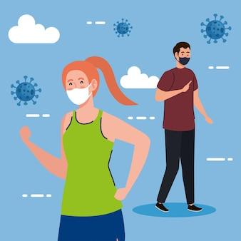Neue normalität von frau läuft und mann mit maskenentwurf des covid 19-virus und des präventionsthemas