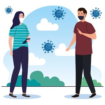 Neue normalität von frau und mann mit maskenentwurf des covid 19-virus und des präventionsthemas