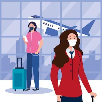 Neue normalität von frau und stewardess mit maske und taschen am flughafendesign von covid 19 virus und reisethema