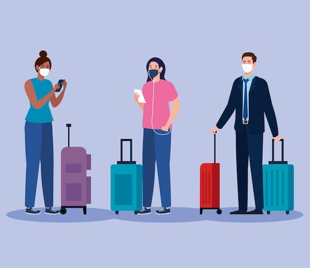 Neue normalität von frauen und männern mit maske und reisetaschen-design des covid 19-virus und des flughafenthemas