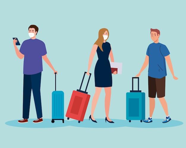 Neue normalität von männern und frau mit masken- und reisetaschenentwurf des covid 19-virus und des flughafenthemas