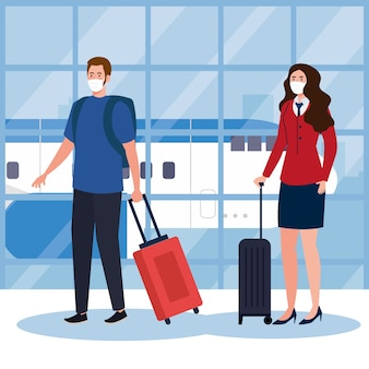Neue normalität von mann und stewardess mit maske und taschen am flughafendesign des covid 19-virus und des reisethemas