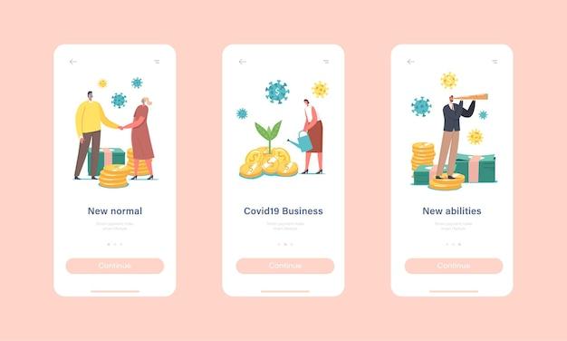 Neue normals mobile app-seite onboard-bildschirmvorlage. wirtschaftliche wiederherstellung nach der ausbruchskrise von covid19, charaktere geschäftsmöglichkeit während des coronavirus-konzepts. cartoon-menschen-vektor-illustration