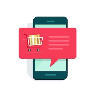 Neue online-bestellungsnachrichtenbenachrichtigung auf flacher karikatur des smartphone- oder mobiltelefonvektors