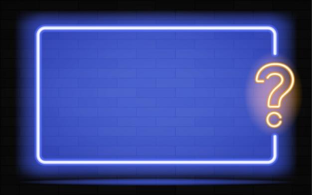 Neue realistische leuchtreklame des quizrahmenlogos für dekoration und abdeckung auf dem dunklen wandhintergrund