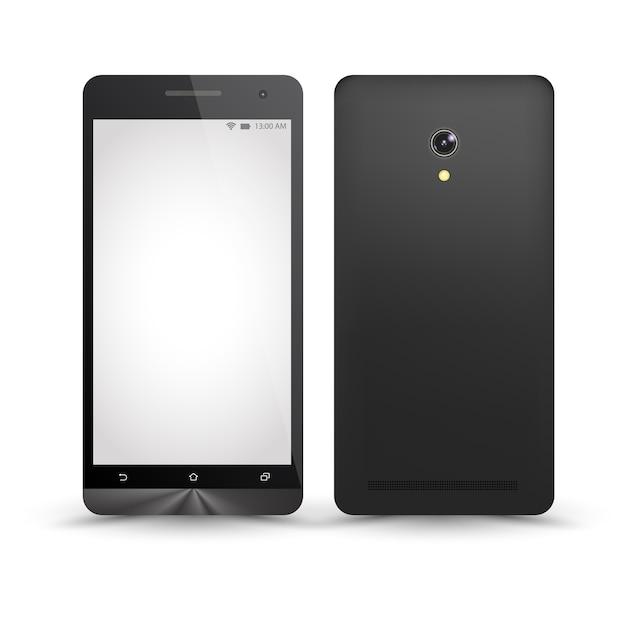 Neue realistische smartphone-modelle vorne und hinten