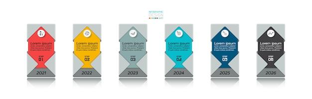 Neue rechteckige designbox zur präsentation neuer arbeiten und zur erläuterung des infografikdesigns von prozessen