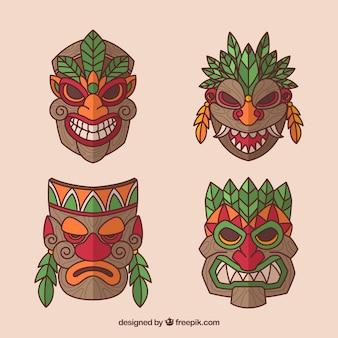 Neue sammlung traditioneller tiki masken