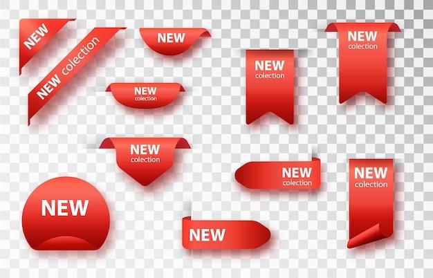 Neue sammlungs-tags gesetzt. vektorabzeichen und etiketten isoliert.