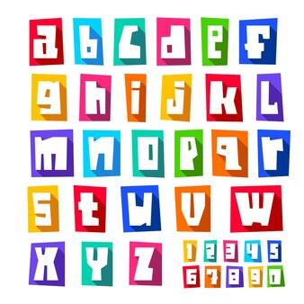Neue schriftart, geschnittene weiße buchstaben, kleinbuchstaben