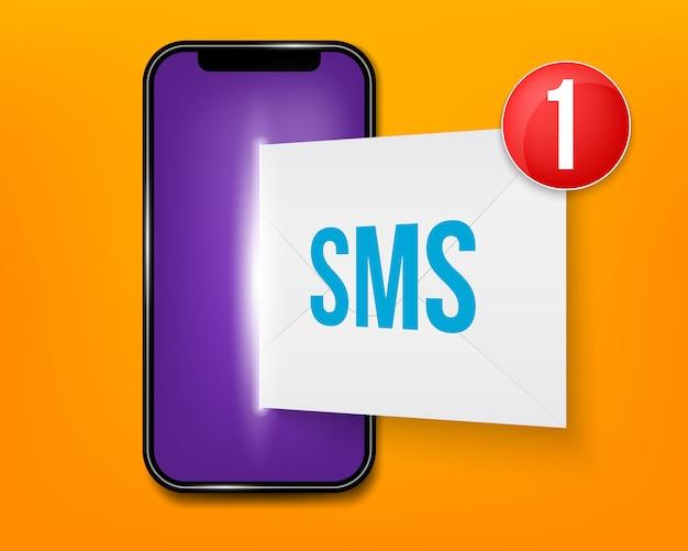 Neue sms oder e-mail-benachrichtigung auf dem handy.