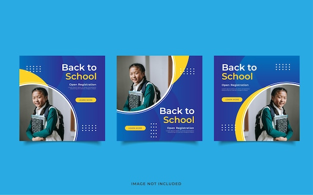 Neue social-media-beitragsvorlage für die einschulung zurück in die schule