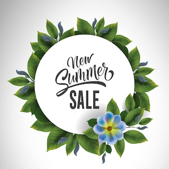Neue Sommerverkaufsbeschriftung im Kreis mit Blumen und Blättern. Angebot oder Verkauf von Werbung