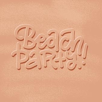 Neue trendige realistische sandbeschaffenheit des strandparty-banners mit beschriftungswörtern