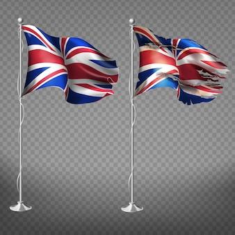 Neue und alte, zerrissene nationalflagge von england flattern im wind auf metall fahnenmast