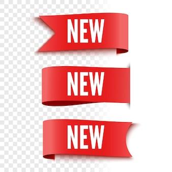 Neue verkaufsetiketten auf transparentem hintergrund rote etiketten ribbons vector illustration