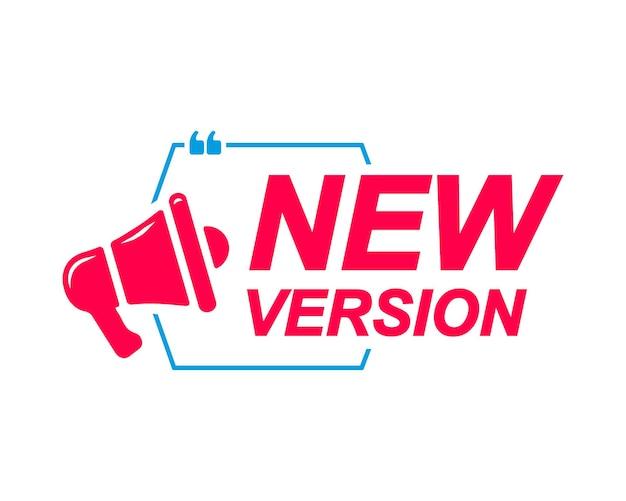 Neue version beschriftet sprechblasen mit megaphon-symbol banner für social-media-website-faq