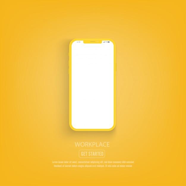 Neue version des gelben smartphone mit leerem weißem bildschirm.