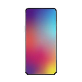 Neue version des schwarzen, schlanken, rahmenlosen, realistischen smartphones mit modernem hintergrundbild mit farbverlauf