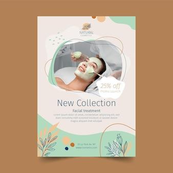 Neue vertikale flyer-vorlage für die kosmetikkollektion