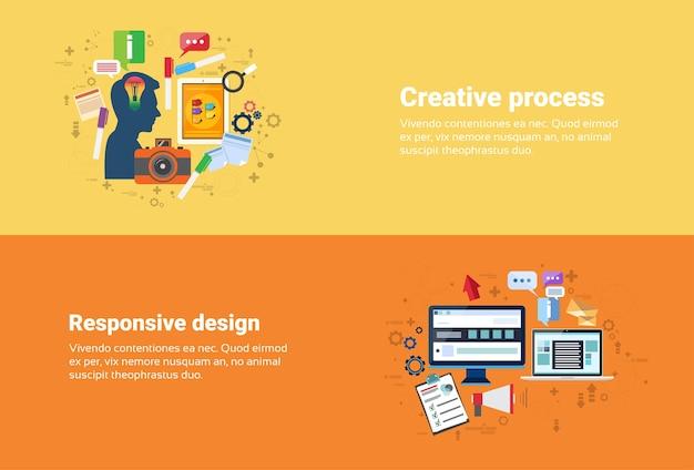 Neuer ideen-inspirations-kreativer prozess, technologie-computer-ansprechender design-netz-fahnen-flacher vektor i