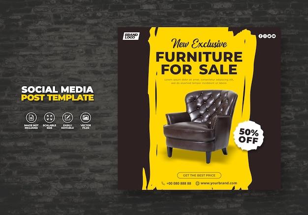 Neuer moderner und exklusiver brown möbelverkauf promotional web banner oder social media post banner