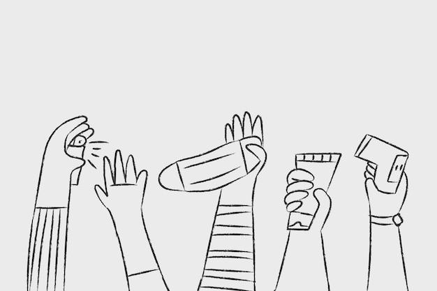 Neuer normaler doodle-vektor, persönliches hygienekonzept