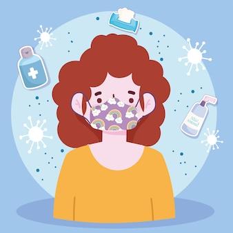 Neuer normaler lebensstil, junge frau mit schutzmaskenprävention covid 19 krankheitsvektorillustration