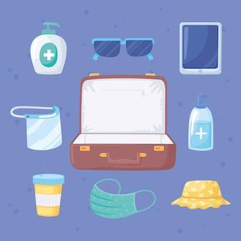 Neuer normaler reisekoffer mit maskenmedizinhutbrille und smartphoneillustration