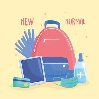 Neuer normaler rucksack mit handschuhmaske, gel-desinfektionsmittel und mobiler illustration