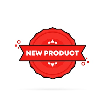 Neuer produktstempel. vektor. symbol für das neue produktabzeichen. zertifiziertes abzeichenlogo. stempelvorlage. etikett, aufkleber, symbole. vektor-eps 10. getrennt auf weißem hintergrund.