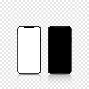 Neuer realistischer mobiler schwarzer smartphone-moderner stil mit leerem bildschirm auf transparentem hintergrund. realistische vektorillustration.
