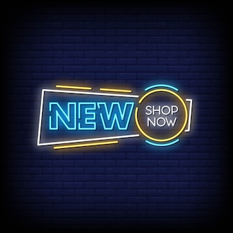Neuer shop jetzt neon signs style text vector