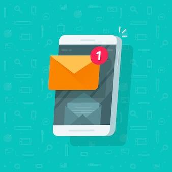 Neuer ungelesener e-mail-mitteilungs-posteingang auf flacher karikatur der handy- oder mobiltelefonillustration
