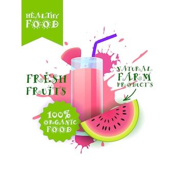 Neuer wassermelonensaftillustrations-naturkost-bauernhof-produkt-aufkleber über farbenspritzen