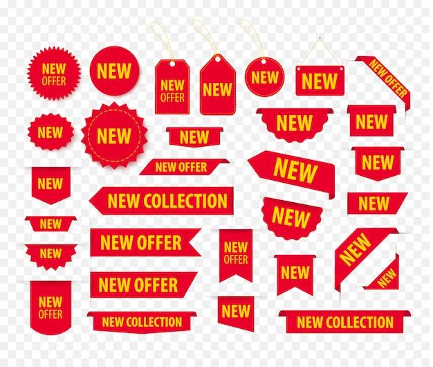 Neues angebot mit roten tags, preisschildern und bannern. lesezeichen und ausweisvorlagen. produktaufkleber mit angebot. werbeecke befindet element.
