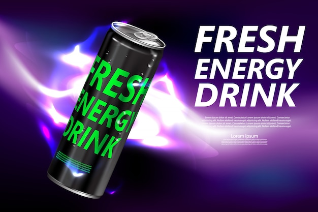 Neues energiegetränk im dosenproduktplakat