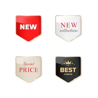 Neues etikett und sonderverkauf glänzendes etikett.