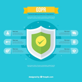Neues gdpr infographic mit flachem design