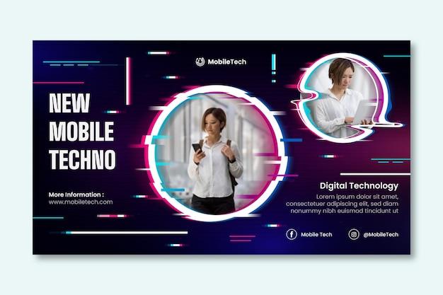 Neues horizontales banner für mobile technologie