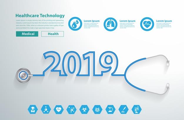 Neues jahr 2019 des vektorstethoskopherz-kreativen designs