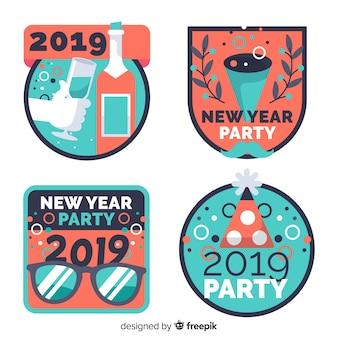 Neues jahr 2019 etiketten eingestellt
